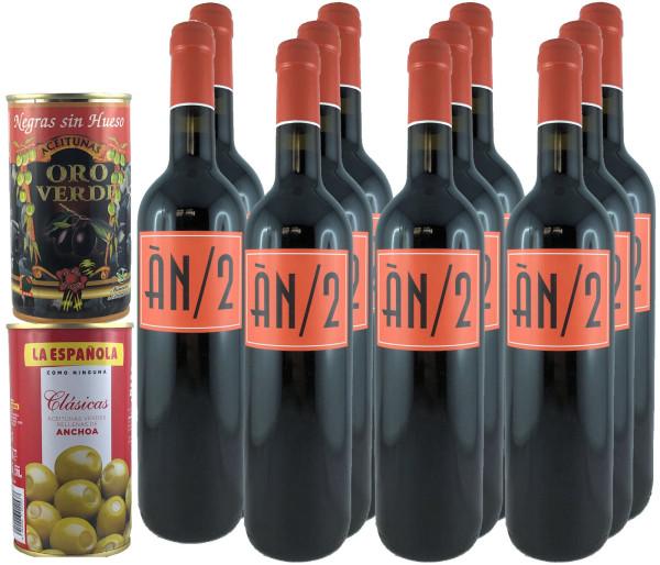 11 Flaschen AN/2 2019 Anima Negra AN2 Rotwein + 2 Dosen Oliven (grün/schwarz)