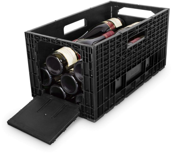 Das flexible Weinregal - Weinbox Weinkiste Weinregal Klappbox stapelbar, schwarz