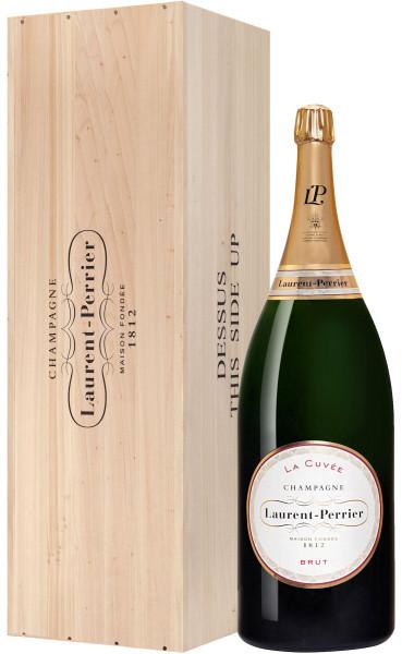 12,0l Laurent-Perrier La Cuvée Champagner Balthazar-Flasche in Holzkiste