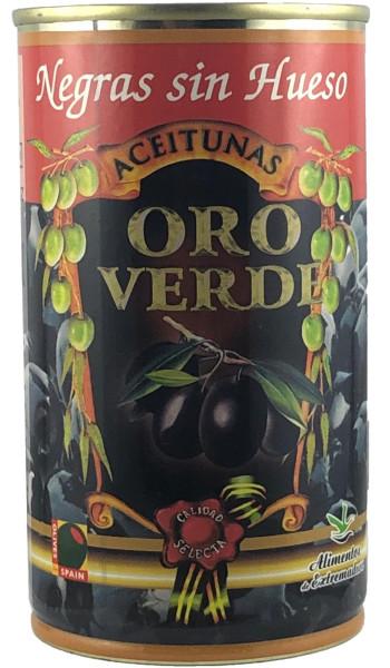 Oliven: Schwarze Oliven ohne Stein, Dose 350g netto