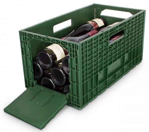 Das flexible Weinregal - Weinbox Weinkiste Weinregal Klappbox stapelbar, grün