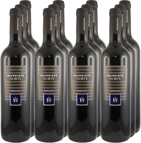 12 Flaschen Inurrieta Norte Roble 2018 Rotwein 11+1 Angebot