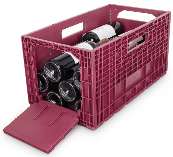 Das flexible Weinregal - Weinbox Weinkiste Weinregal Klappbox stapelbar, rot
