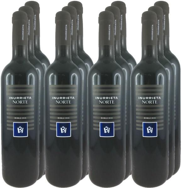 12 Flaschen Inurrieta Norte Roble 2016 Rotwein 11+1 Angebot