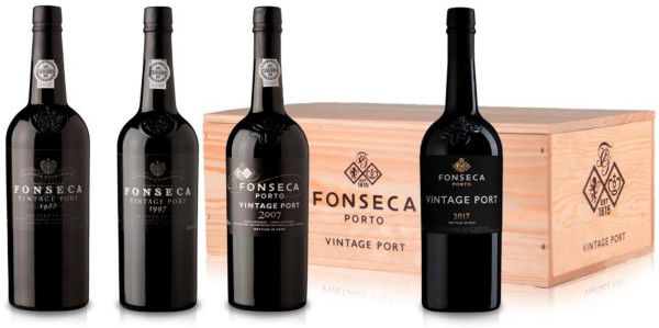 Holzkiste mit 12 Fonseca Vintage Portweinen
